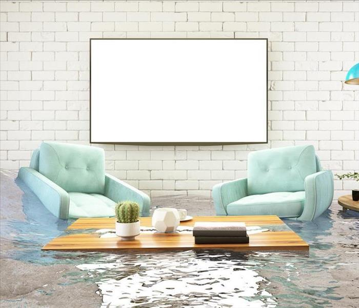 flooded home living room with furniture